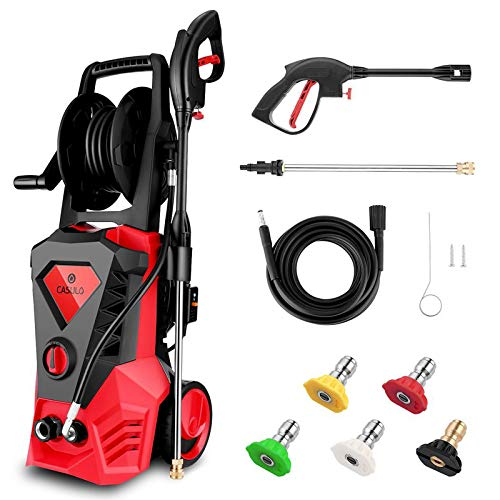 Wesoky Electric Pressure Washer Max 3500PSI 2.6GPM with Hose Reel, 1800W Power Washer Machine, High Pressure Car Patio Garden Yard Cleaner with 5 Adjustable Nozzle, Spray Gun & 10m Hose