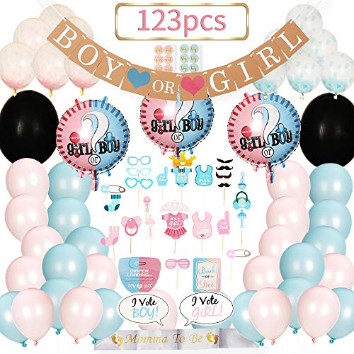 Baby Gender Reveal Party Supplies | Gender Reveal Props | Gender Reveal Banner | Mom To Be Sash | Confetti Balloons | Team Boy Or Girl | Gender Reveal Decoration Kit With 123 Pieces