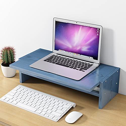 LMAMZ 2 Pack Soporte de Monitor de Madera, 2 Niveles Soporte Elevador para Monitor con Almacenamiento de Teclado y Mouse, Multifunción Elevador para Monitor para Laptop Ordenador TV,Azul