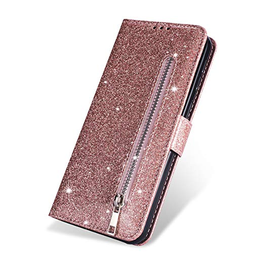 ZCDAYE Wallet Case for iPhone 11 Pro Max,Bling Glitter Sparkly Zipper PU Leather Magnetic Flip Folio Case Cover with Card Pockets Holder and Wrist Strap for iPhone 11 Pro Max 6.5