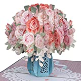 Paper Love Pink Roses Pop Up Card, Handmade 3D Popup Greeting Cards for Valentines Day, Mothers Day, Wedding, Anniversary, Love, Romance, Thank You, Thinking of You, Sympathy, All Occasion   5' x 7'