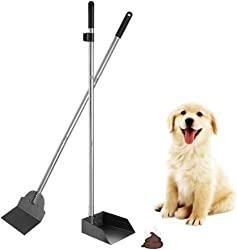 SCENEREAL Pet Poop Tray & Spade Set Dog Cat Waste Removal Scoop with 37.4  Long Handle