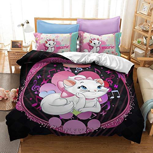 Enhome Duvet Cover Bedding Set for Single Double King Size Bed, 3D Cartoon White Cat Print Microfiber Duvet Set Quilt Case with Pillowcases (Marie-6,135x200cm(2pc))