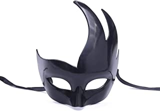 Halloween Half Face Makeup Ball Dressed with Face Flame Mask, All Black