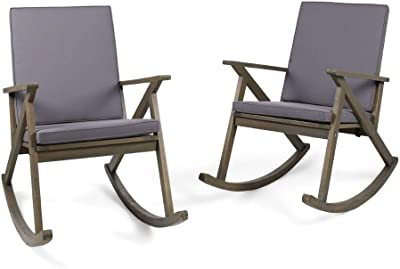 Christopher Knight Home 304346 Louise Outdoor Acacia Wood Rocking Chair (Set of 2), Grey/Grey Cushion