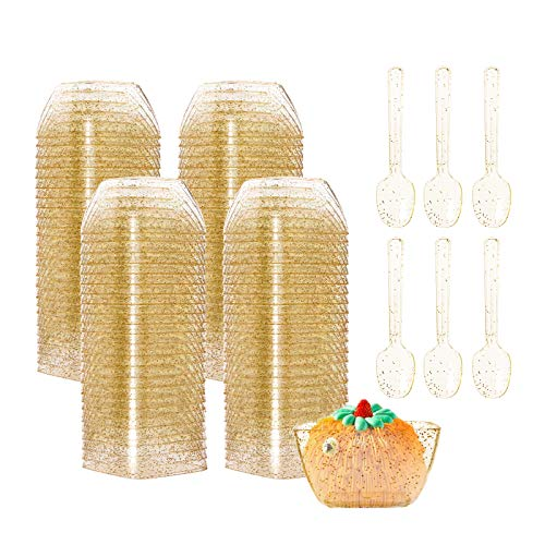 Tebery 100 Pack Mini Plastic Gold Glitter Dessert Bowls Cups with 100 Spoons 2oz Square Dessert Shooters for Chocolate Desserts Appetizers Dessert Samplers