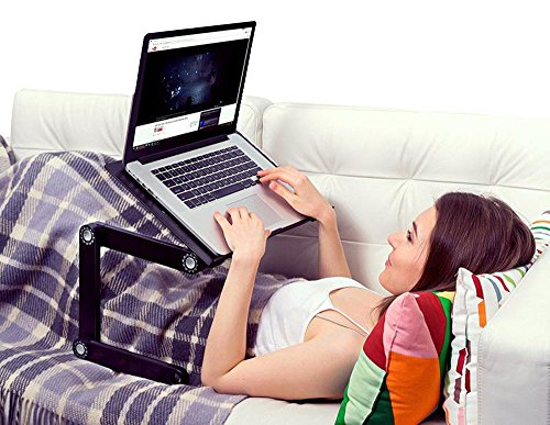 "Uncaged Ergonomics WorkEZ Executive Adjustable Ergonomic Laptop Cooling Stand Lap Desk for Bed Couch with 2 Fans & 3 USB Ports folding aluminum desktop riser tray height tilt angle portable macbook cooler cooling,Black, ""panel: 18"" by 11"""" (WEEFHb) Photo #9"