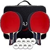 DRAXX Raquetas de Tenis de Mesa 4 Palas de Ping Pong + Bolsa de Transporte + 8 Pelotas   Juego de Tenis de Mesa   Pin y pon...
