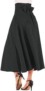New Women's High Waist Pleated A Line Long Skirt Front Slit Belted Maxi Skirt