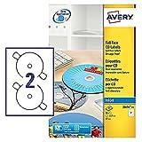 Avery J8676-25 - Etiquetas para CDs, color blanco