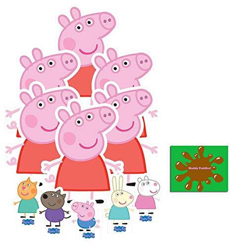 BundleZ-4-FanZ Peppa Pig Offiziell Pappaufsteller Party-Packung mit 11 Stück (beinhaltet Peppa Pig, George Pig, Candy Cat, Danny Dog, Rebecca Rabbit und Suzy Sheep Enthält 6X4 (15X10cm) starfoto
