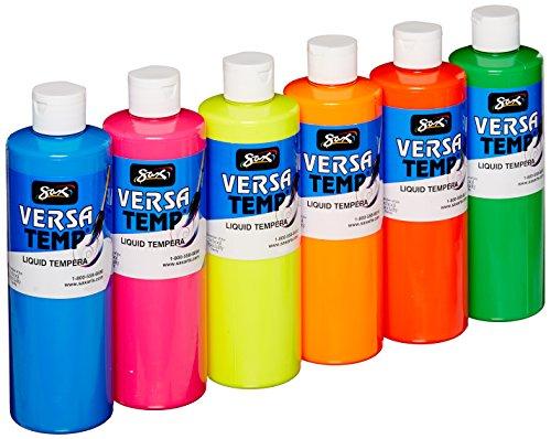Sax Versatemp Tempera Paints, Assorted Fluorescent Colors, Set of 6 - 1440727