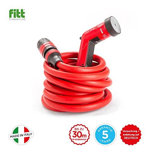Fitt yoyo–Manguera de jardín roja, ligera, robusta y extremadamente flexible con ducha y acoplamiento rápido con el sistema Aquastop, para el jardín, el hogar y los viajes