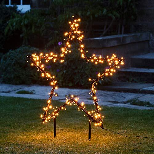 Lights4fun 255er LED Cluster Stern Silhouette warmweiß Weihnachtsbeleuchtung Außen 31V