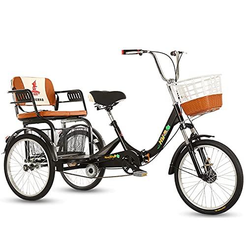 Triciclo de Adultos Triciclo Adulto Triciclos Adultos Cesta De Carga Tres Ruedas Bicicleta Con Respaldo Trible Trible Biciclete Bicicleta Simple Moderna Ciudad Ciudad De La Ciudad Para Im(Color:black)