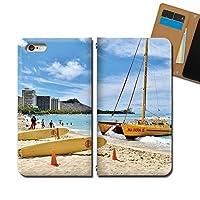 Galaxy A21 UQ mobile SCV49 ケース スマホケース 手帳型 ベルトなし HAWAII ハワイ ダイヤモンドヘッド 手帳ケース カバー バンドなし マグネット式 バンドレス EB337020115001