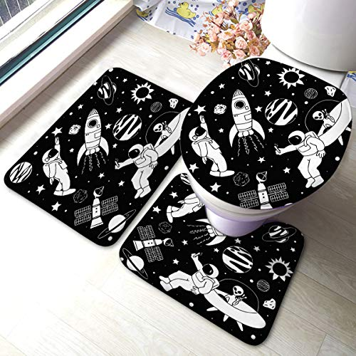 Bathroom Mat Sets 3 Piece Set Cute Astronaut Playing Video Game with His Best Friend On Their Own Space Memory Foam Mat Set Matches Anti-Skid Absorbent Toilet Seat Cover Bath Mat Lid