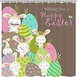 JAWO Ostersonntag Duschvorhang für Badezimmer, Cartoon Kaninchen Ostern Eier Frühling Kinder Beruf Polyester Stoff Bad Zubehör Vorhänge Dekor mit 12 Haken 177,9 x 177,8 cm