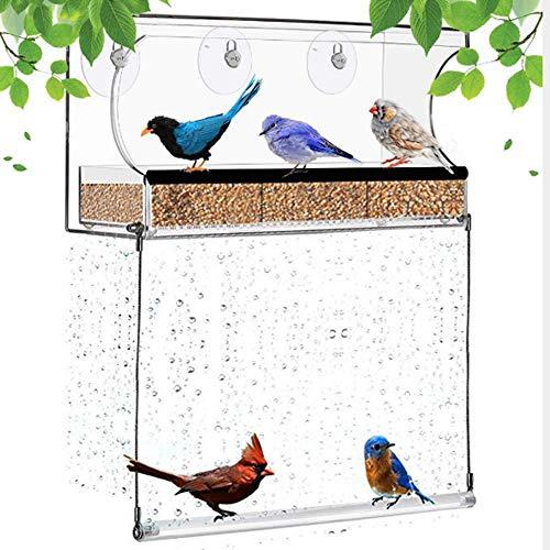 Urijk Hängende Futterstation Fenster Vogelfutterspender Transparent Futterspender Acryl Vogelhaus Fenster Vogelfutterstation mit Abnehmbarem Tablett und 3 Saugnäpfen für Wildvögel