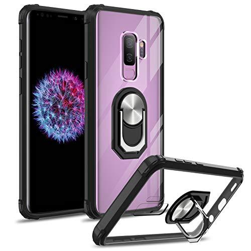 DOSMUNG Funda Compatible con Samsung Galaxy S9 Plus, Anticaida Carcasa con 360 Grados Anillo Soporte Giratorio Magnético, TPU Silicona Parachoques y Duro Transparente PC Panel Trasero Case - Negro