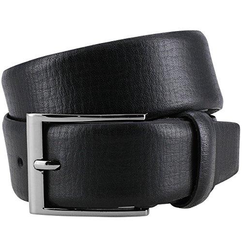 Lindenmann Mens Leather Belt/Mens Belt, leather belt curved with strucktur, black, Größe/Size:100, Farbe/Color:noir