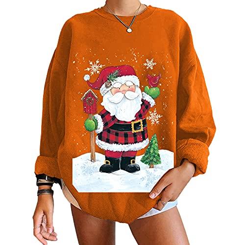 Women's Christmas Pullover Women Funny Leopard Printed Plaid Christmas Trees Long Sleeve Sweatshirt Xmas Graphic Tee
