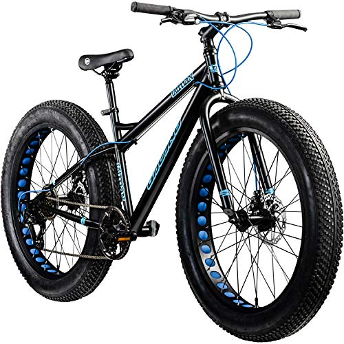 Galano 26 Zoll Fatbike Fatman Mountainbike MTB Hardtail 4.0 fette Reifen Fahrrad (schwarz/blau)