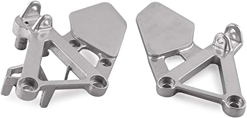 popular Mallofusa Aluminum Motorcycle Front Foot Pegs sale Bracket Footrests Compatible for Honda lowest CBR 250RR 1988 1989 MC19 Silver outlet sale