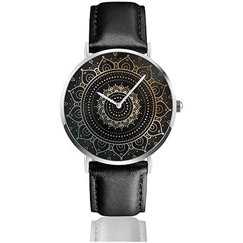 Mandala de Oro sobre Negro Hombres étnicos Moda Deportes Minimalista Reloj de Pulsera Reloj de Correa de Cuero