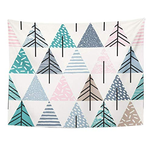 SVDziAeo Wandteppich Farbe abstrakte geometrische Muster Weihnachtsbäume modern für Innenanwender Creative Doodle Dekor Wandbehang Picknick Bettlaken Decke 80x60 Zoll