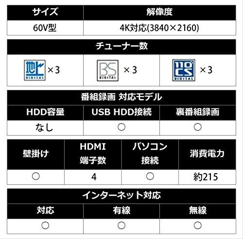 『シャープ 60V型 液晶 テレビ AQUOS 4T-C60AM1 4K HDR対応 低反射「N-Blackパネル」搭載 2018年モデル』の8枚目の画像