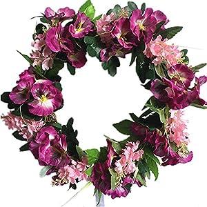 Silk Flower Arrangements 14 Inch Artificial Pansy Hyacinth Flower Wreath Wedding Home Front Door Decorative Wreath 36cm( 14 Inches)