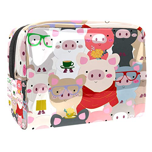 Luggage Cosmetic Cases Colorful Hipster Pigs Portable Travel Makeup Cosmetic Bags Organizer Multifunction Case Toiletry Bags for Women 7.3x3x5.1in
