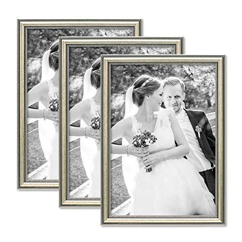 PHOTOLINI 3er Set Bilderrahmen Silber Barock Antik 21x30 cm DIN A4 Fotorahmen mit...