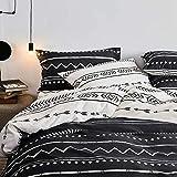 Striped Duvet Cover Queen Geometric Bedding Set Full Gray Black White Stripe Duvet Comforter Cover Arrow Herringbone Reversible Streaks Bedding 1 Duvet Cover 2 Pillowcases Bohemian Bedding