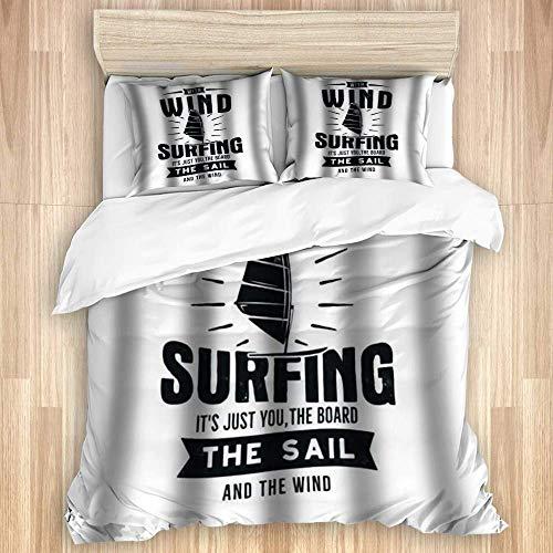 Funda nórdica de 3 Piezas, diseño de Camiseta de Windsurf de Kitesurf Vintage para Viajes de Verano, Juego de Ropa de Cama de Calidad con 1 Funda y 2 Fundas de Almohada Estilo