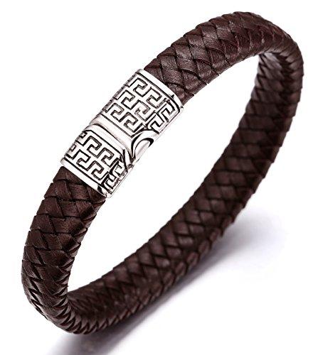 Halukakah ● Solo ● Herren-Armband Handgefertigt | Echtleder in Braun | Kreuzgeflecht | Magnetverschluss mit Muster Edelstahl in Silber | KOSTENLOS Geschenkbox | Tolle Geschenkidee | 21.5cm