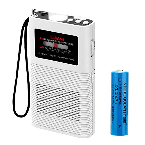 【2021Newest】 Portable Radio AM/FM/MP3 Player 2200mah Battery Operated, Long Antenna Best Reception,Longest Lasting Transistor Powered Replaceable18650 with Bass and TF Card Easy Tuning(with Mp3)