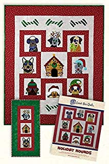 Lunch Box Quilts Holiday Hounds Applique Machine Embroidery Design Pattern with CD