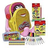 CYP Brands - Set Mochila Rosa, Lapices, Ceras y Rotuladoress, Material Escolar para Colorear, Play Doh