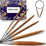 KOKO & SNOW Rundstricknadel Set aus Bambus mit eingravierten Sprchen [Geschenkidee] 6er Stricknadeln Set: 3; 4; 4,5; 5; 8 und 12mm Strickset