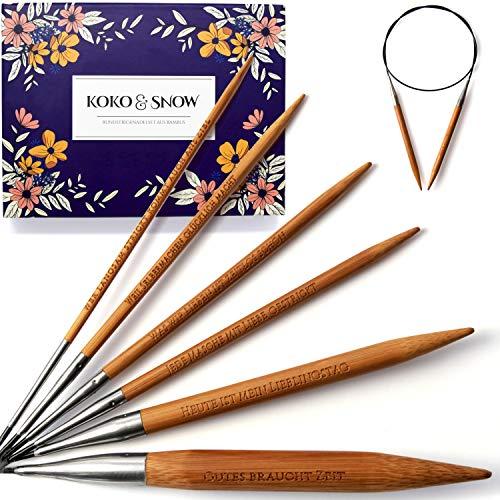 KOKO & SNOW Rundstricknadel Set aus Bambus mit eingravierten Sprüchen [Geschenkidee] 6er Stricknadeln Set: 3; 4; 4,5; 5; 8 und 12mm Strickset