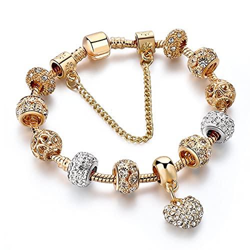 XFYJR Pulseras para Mujeres Charm Crystal Jewelry Heart Brazalets (Color : Gold, Size : 21cm)
