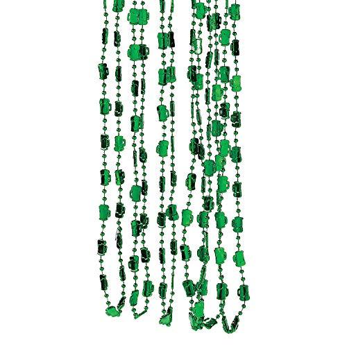 Fun Express Green Beer Mug Bead Necklaces (Bulk Set of 24) St. Patrick's Day and Mardi Gras Beads