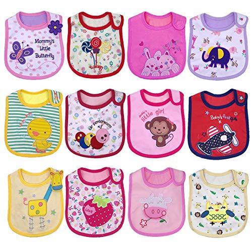 Yafane Baberos Impermeables Baberos Bebé para Niños Niñas Unisex Bandana Bebe Algodón Absorbente 3-24 meses (Rosa/Amarillo)
