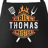 MoonWorks® Grill-Schürze für Männer Grillmeister Biker personalisiert eigener Name Baumwoll-Schürze schwarz Unisize