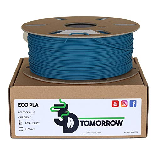3DTomorrow Peacock Blue Eco PLA Filament 1.75mm, 100% Recyclable Cardboard Spool - Eco Friendly 3D Printer Filament, Contains recycled PLA. Matte PLA