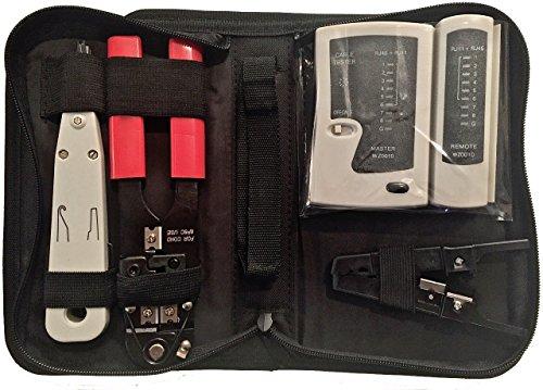 odedo® Netzwerktasche 4 in 1 Werkzeug Set aus Crimpzange Abisolierer Auflegewerkzeug LSA Netzwerk Tester mit Deutscher Anleitung, Kabelverlegung LAN Ethernet Network Tool Set