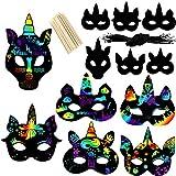 vamei 24pcs Scratch Art para Niños Máscaras Unicornio Niños DIY Máscaras Dibujo Scratch Art Láminas para Rascar Piñata Unicornio Creativas Papel Dibujar Paper Halloween Navidad Máscaras para Niños