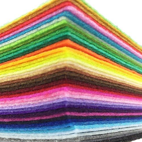 flic-flac 42pcs 12 x 12 inches (30cm30cm) Felt Fabric Sheet Assorted Color Felt Pack DIY Craft Squares Nonwoven